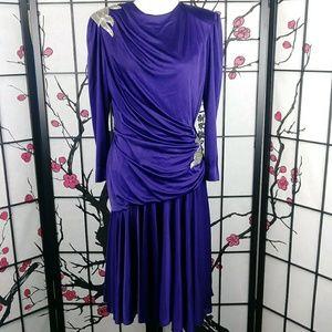 Vintage Abby Kent Satin Sequined Purple Dress